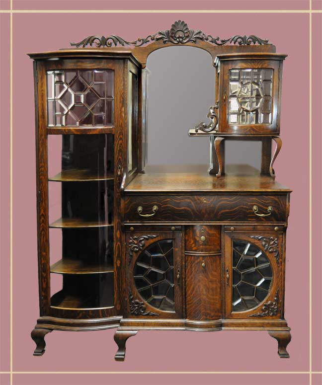 Side-by-Side Curio Cabinet with Leaded Glass