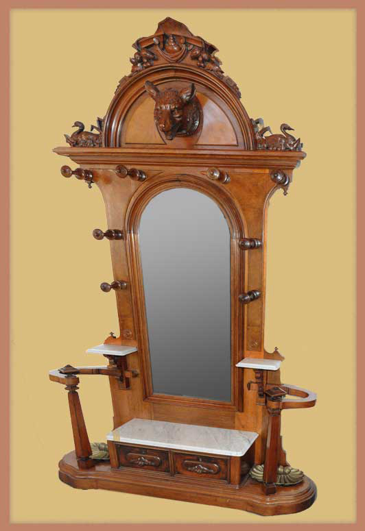 Large Walnut Hall Tree, with Wolf Carving & Mirror