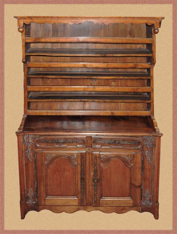 Rustic Two-Stack French Country Plate Cabinet
