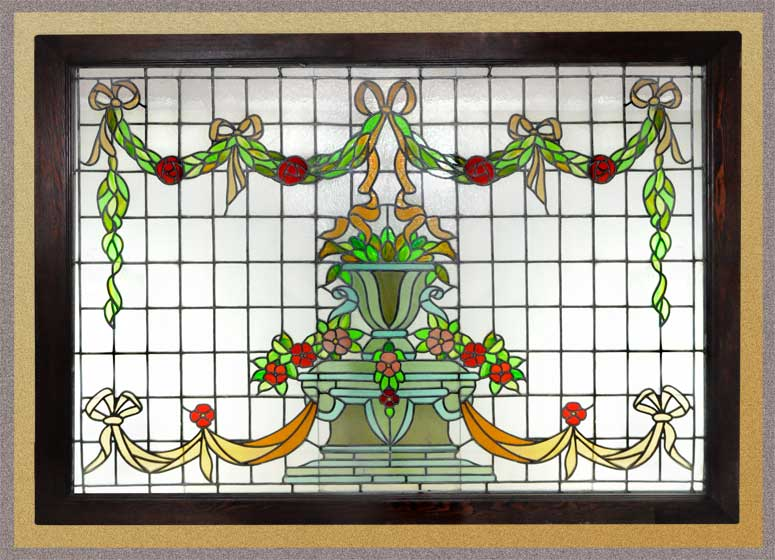 Large, Colorful Floral Stained Glass Window