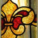 Patterned Stained Glass Window, with Fleur-de-Lis Center Emblem