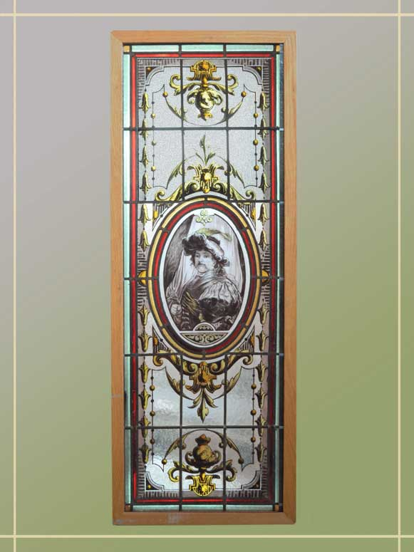 Charming European Painted & Fired Window