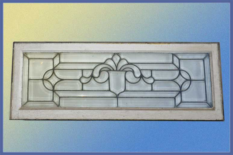 Rustic Beveled Glass Window, with Fleur-de-Lis Center