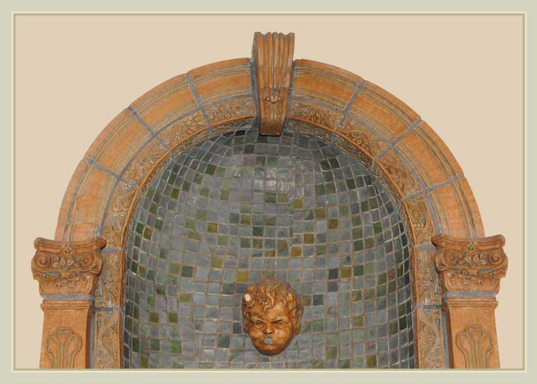 "Classic Batchelder ""Arts and Crafts"" Tiled Fountain"