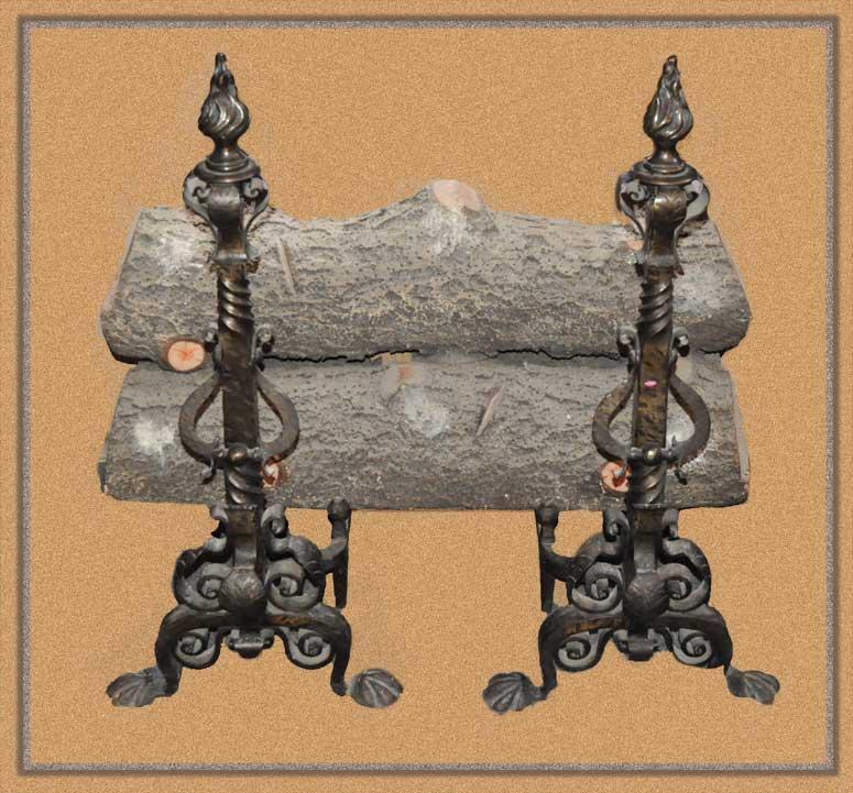 3-Piece Ceramic Gas Logs, with Andiron Pair