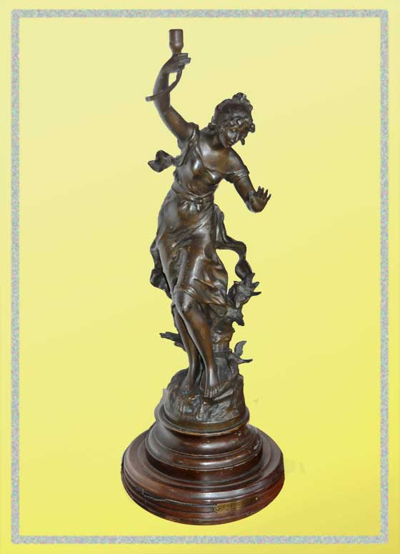 French Brass Newel Post Sculpture of Dancing Figure