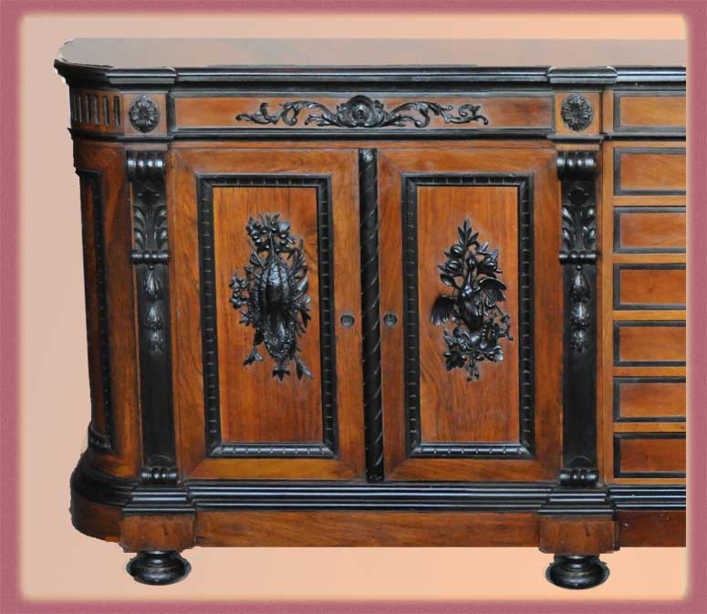Large, Carved French Sideboard with Ebonized Accents