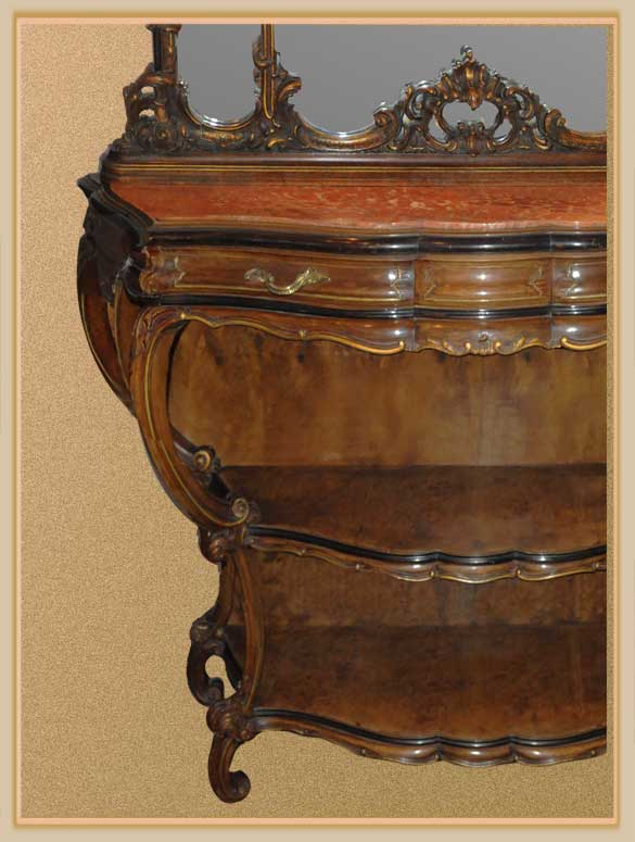 Remarkable Louis XV-Style Console with Shaped Mirrors