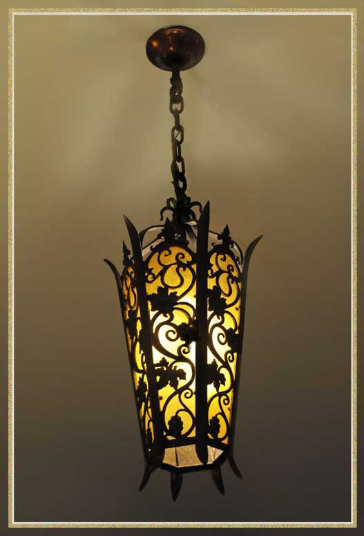 Large Gothic Tudor Light with Leaves & Vines