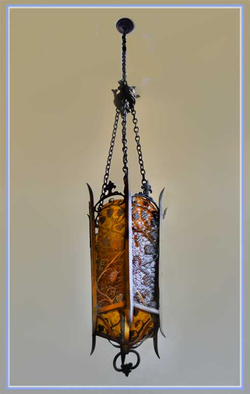 Large Gothic Tudor Light with Grape Relief
