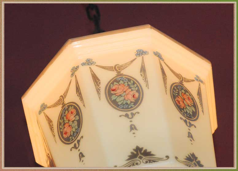 Octagonal Bowl Light with Floral Art