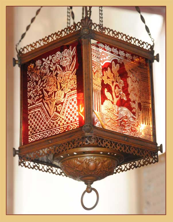 Detailed Hanging Light, with Etched Artwork