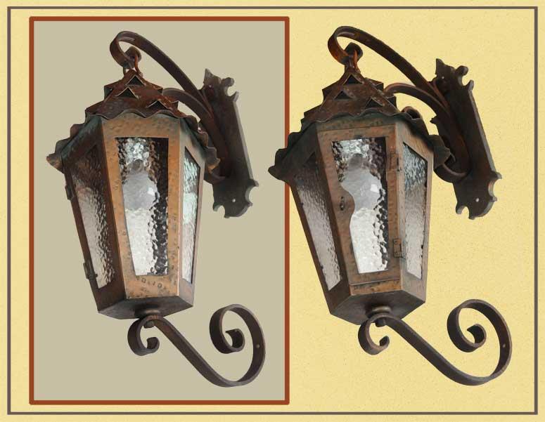 Fabulous Pair of Copper Exterior Sconces