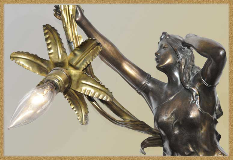 Classic French Brass Newel Post Light, with Mythical Figure