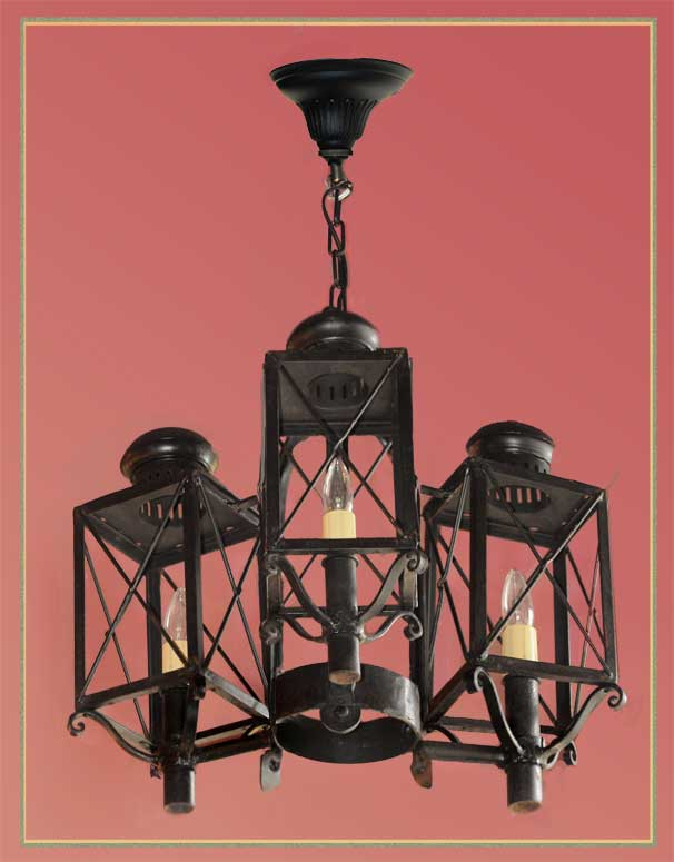 Salvaged Three-Armed, Cast-Iron Light