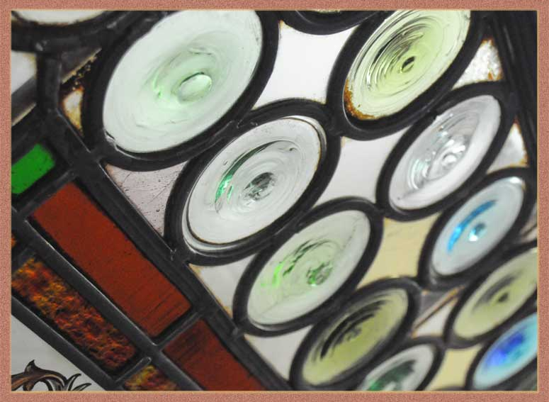 Colorful Rondelle Glass Pattern Window, with Painted/Fired Center