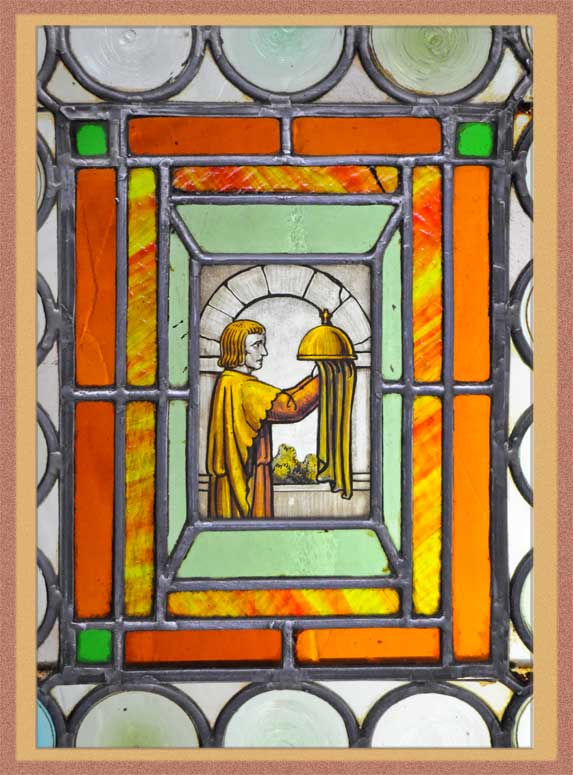 Vintage Rondelle Pattern Window, with Painted/Fired Inset