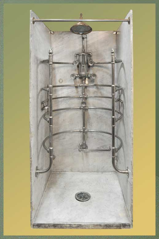 Fabulous Rib-Cage Shower, with Marble Walls