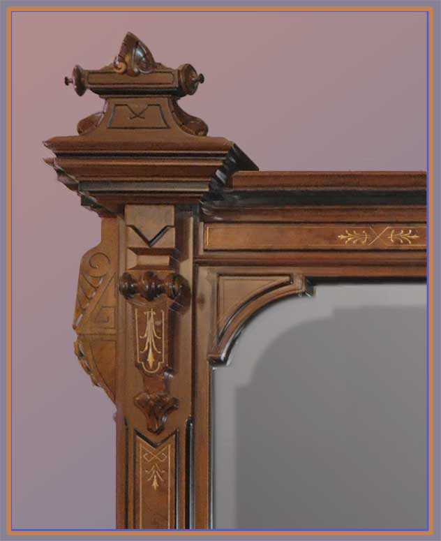 Large Renaissance Overmantel Mirror, with Ebonized Accents