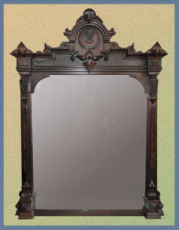 Renaissance Revival Overmantel Mirror, with Pharaoh Carving