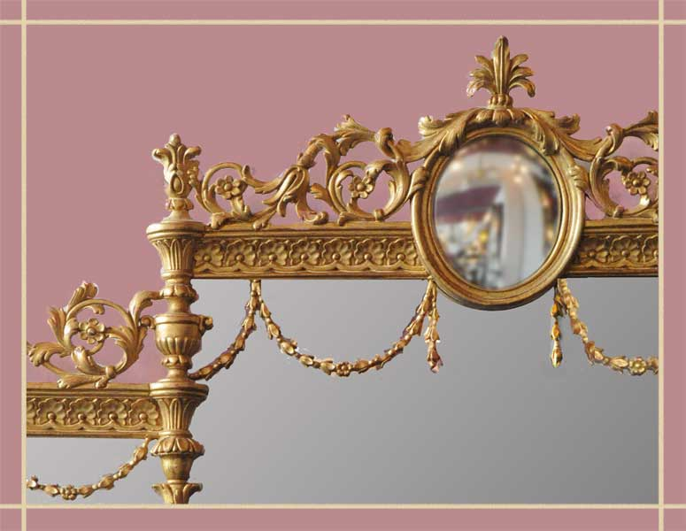 Three-Part Gold Mirror, with Oval Inset Mirror