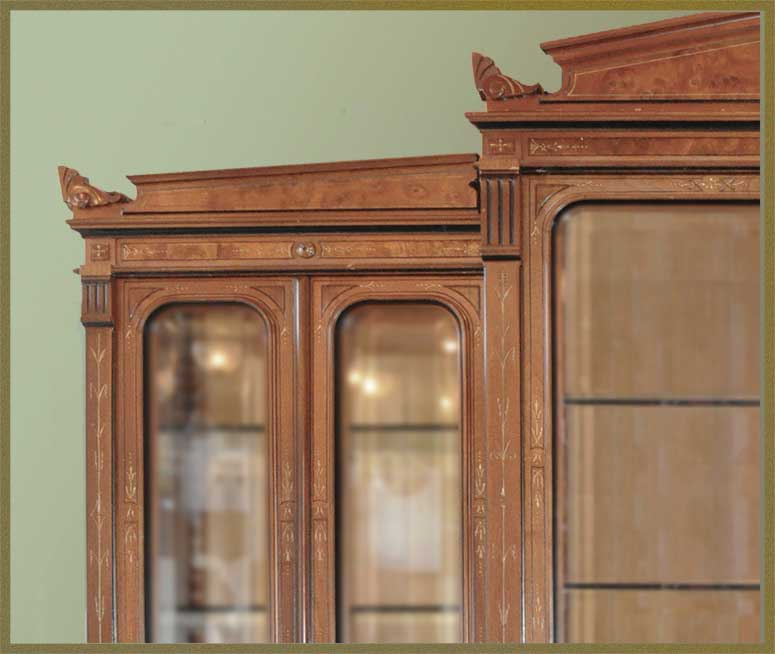 Large Walnut Renaissance Breakfront with Burls & Beveled Glass