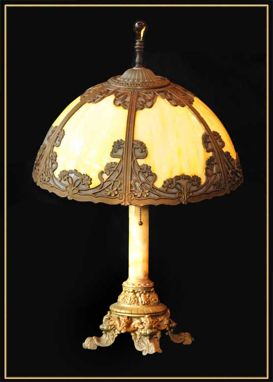 Bent Glass Table Lamp, with Dragon Relief