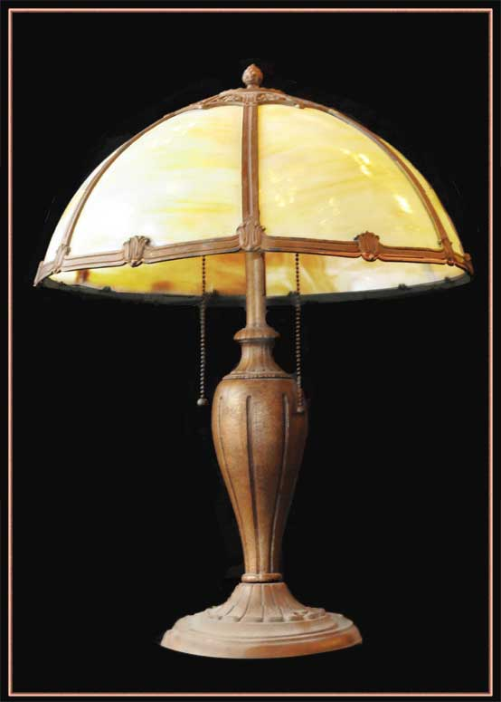 Bent Glass Table Lamp, with Dome Shade