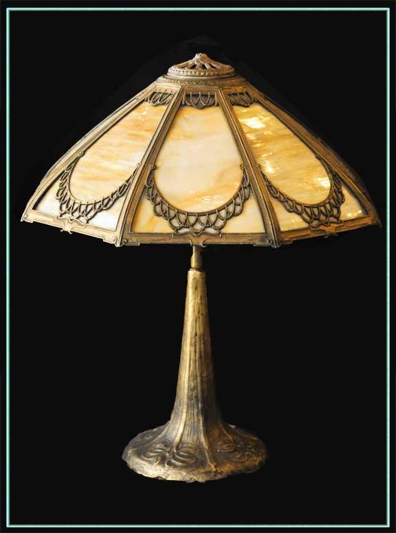 Elegant Filigreed Bent Glass Table Lamp