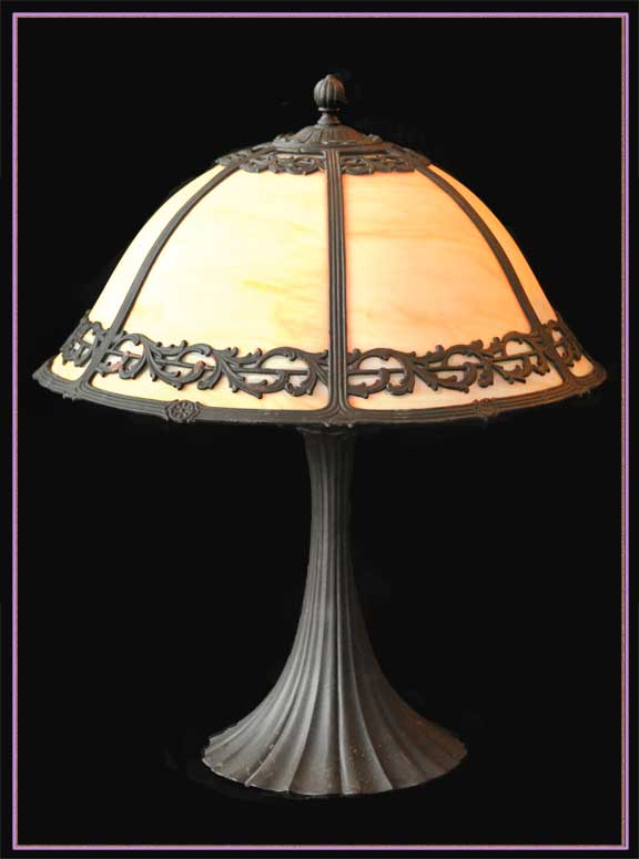 Stately Bent Glass Lamp, with Dome Shade