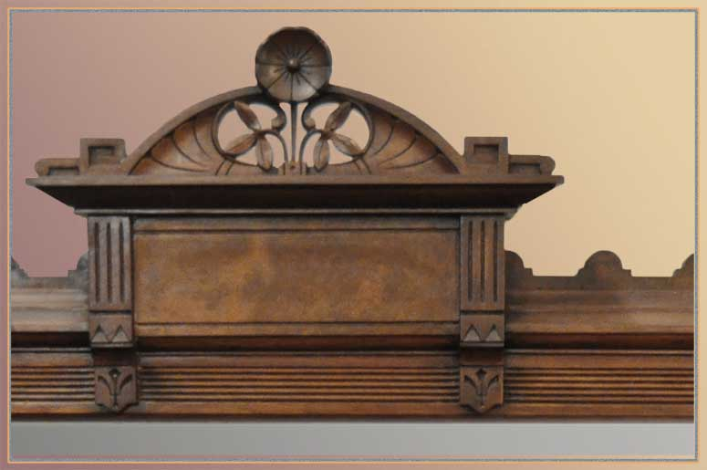 Small Carved Walnut Overmantel Mirror, with Flower Accent