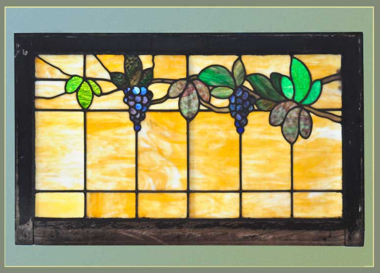 Stained Glass Window with Grapes & Vines