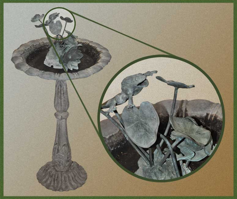 Metal Fountain, with Frogs & Lily Pads