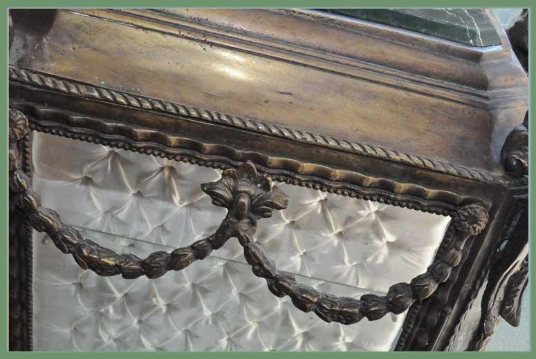 Ornate Brass Vitrine, with White Interior & Marble Top