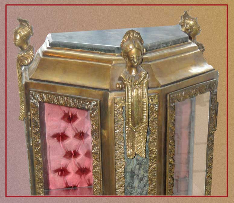 Vintage Brass Vitrine, with Red Interior & Marble Top