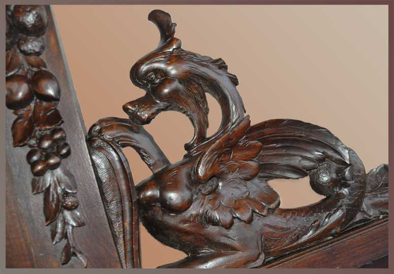 Renaissance-Style Oak Sideboard, with Carved Griffins & Cherubs