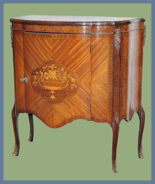Small French Commode, with Inlaid Door Panel