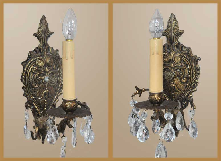 Pair of Brass & Crystal One-Arm Sconces