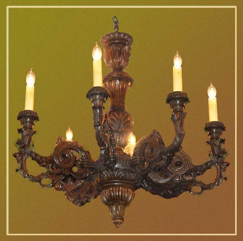 Ornate, 8-Arm Carved Wood Chandelier