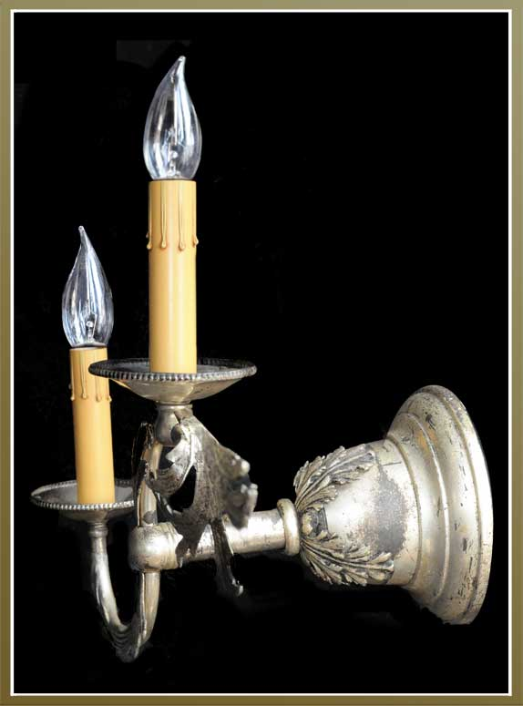 Pair of Two-Armed French Silver Plated Wall Sconces