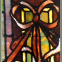 Vintage Transom Window, with Floral & Ribbon Art
