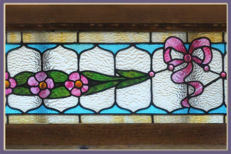 Extra-Wide Transom, with Floral Art & Ribbons