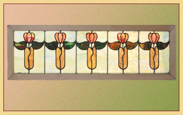 Stained Glass Transom with Tulip Art