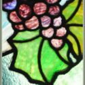 Colorful Stained Glass Window, with Grapes & Vines