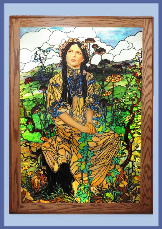 "Spectacular Life-Size ""Lady"" Window, by Bogenrief Glass Studios"