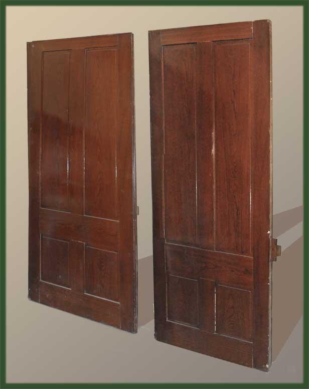 Vintage Large Pair of Walnut Pocket Doors