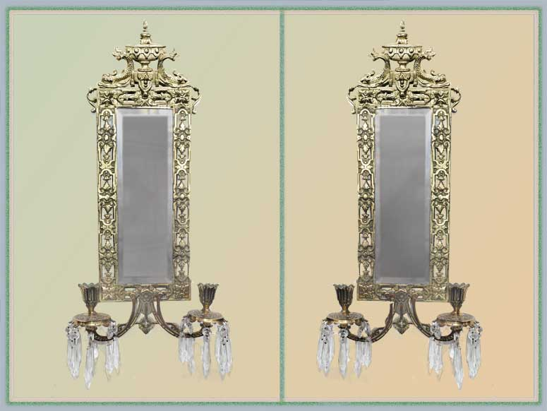 Pair of Brass & Crystal Sconces, with Mirrors