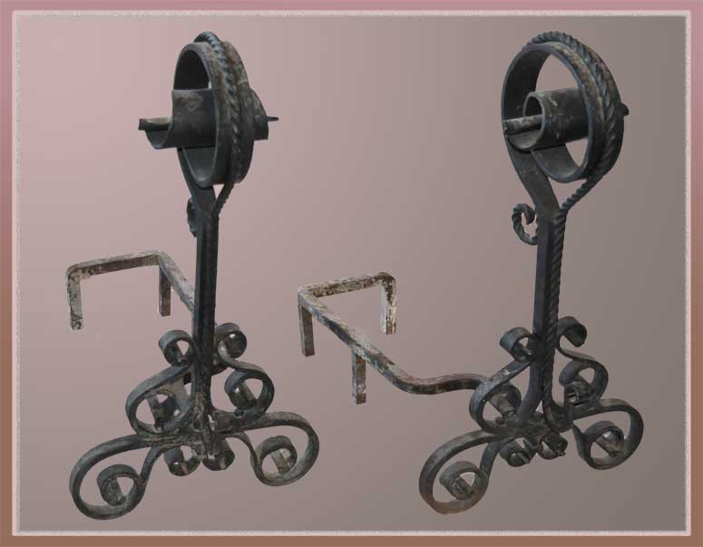 Finely Scrolled Pair of Andirons