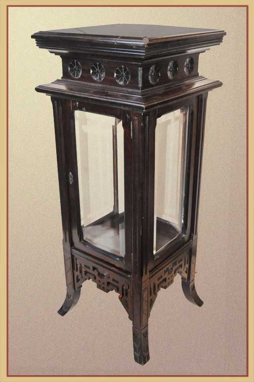 Four-Sided Carved Pedestal, with Beveled Glass
