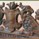 Carved Wood Fireplace Screen, with Clear Glass Pane